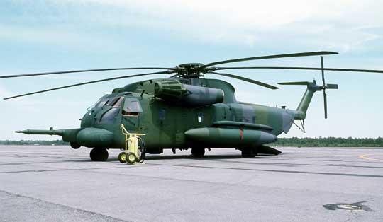 HH-53H Pave Low III (68-10923) z 20th SOS w Hurlburt Field po przylocie z Naval Air Rework Facility w Pensacoli, 11 kwietnia 1986 r. Był to jeden z dwóch egzemplarzy CH-53C przebudowanych na HH-53H. Śmigłowiec w kamuflażu European I (Dark Green/Medium Green/Gunship Gray).