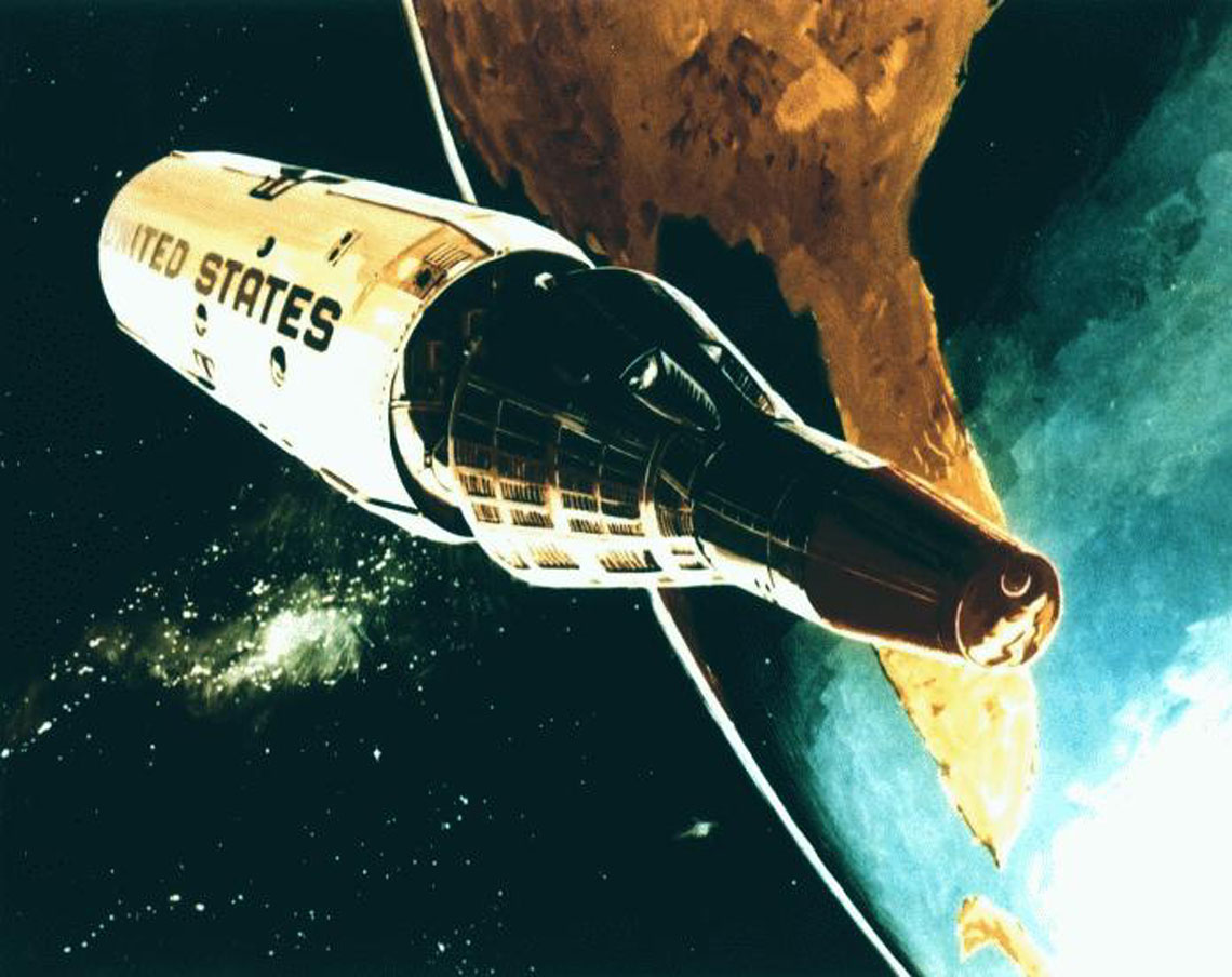 Start rakiety Titan-3C z makietą MOL i statkiem Gemini-B.