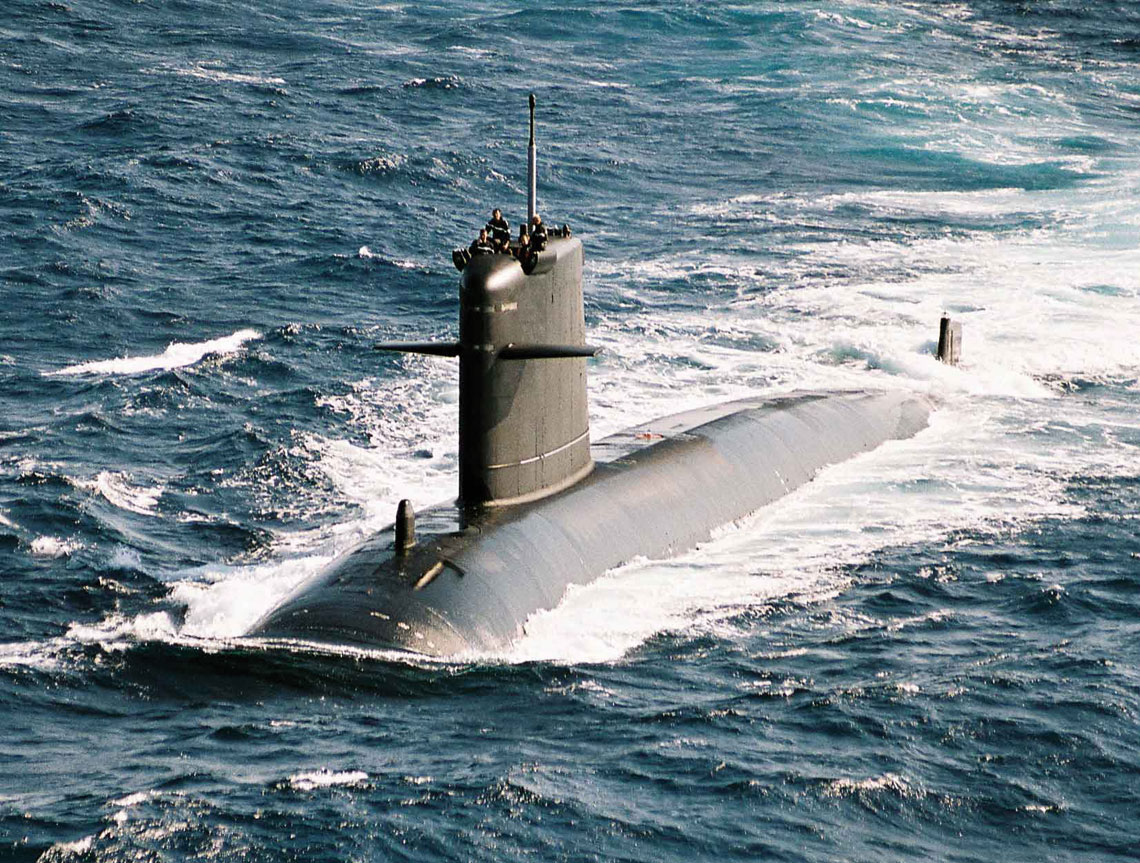 """Casabianca po modernizacji AMETHYSTE z """"nowym"""" kadłubem kroplowym. Rubisy to najmniejsze na świecie bojowe okręty podwodne z napędem jądrowym. Fot. Marine Nationale"""