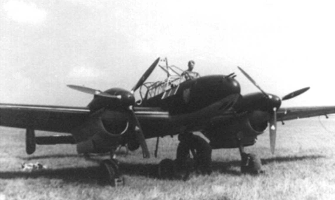 Dywizjon niszczycieli I./ZG 76 w 1939 r. Widok ogólny na samolot niszczycielski Messerschmitt Bf 110B.