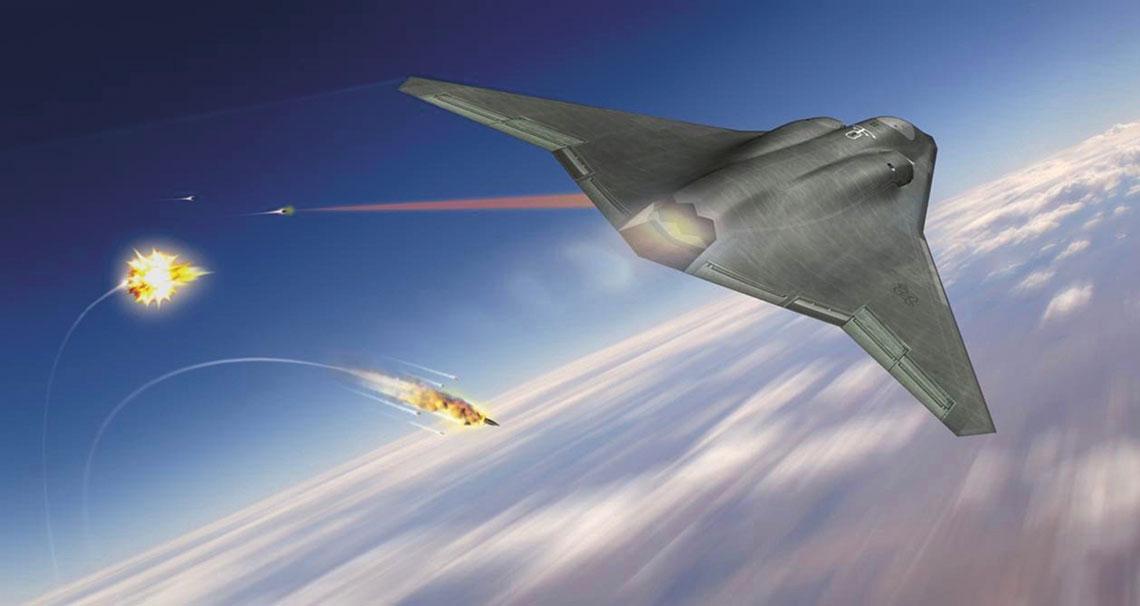 """Myśliwiec 6. generacji Northrop Grummana ma likwidować strzałami z lasera zagrażające mu kierowane pociski """"ziemia-powietrze"""",  po przekroczeniu przez nie granicy zaprogramowanej bezpiecznej strefy."""