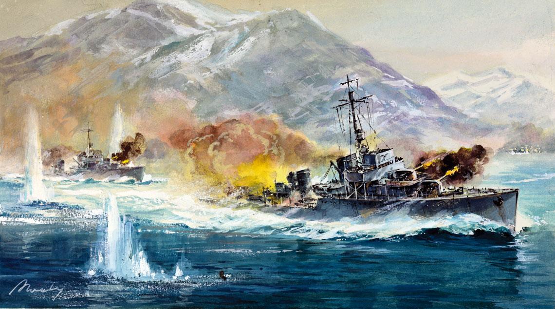 Ostatnia bitwa niszczycieli Beya na obrazie Adama Werki.