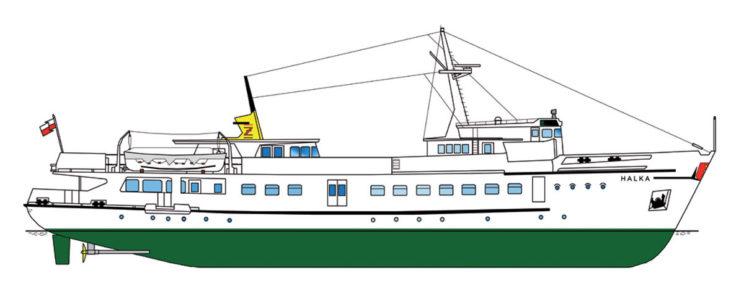 Statek pasażerski Halka. Rys. Waldemar Danielewicz