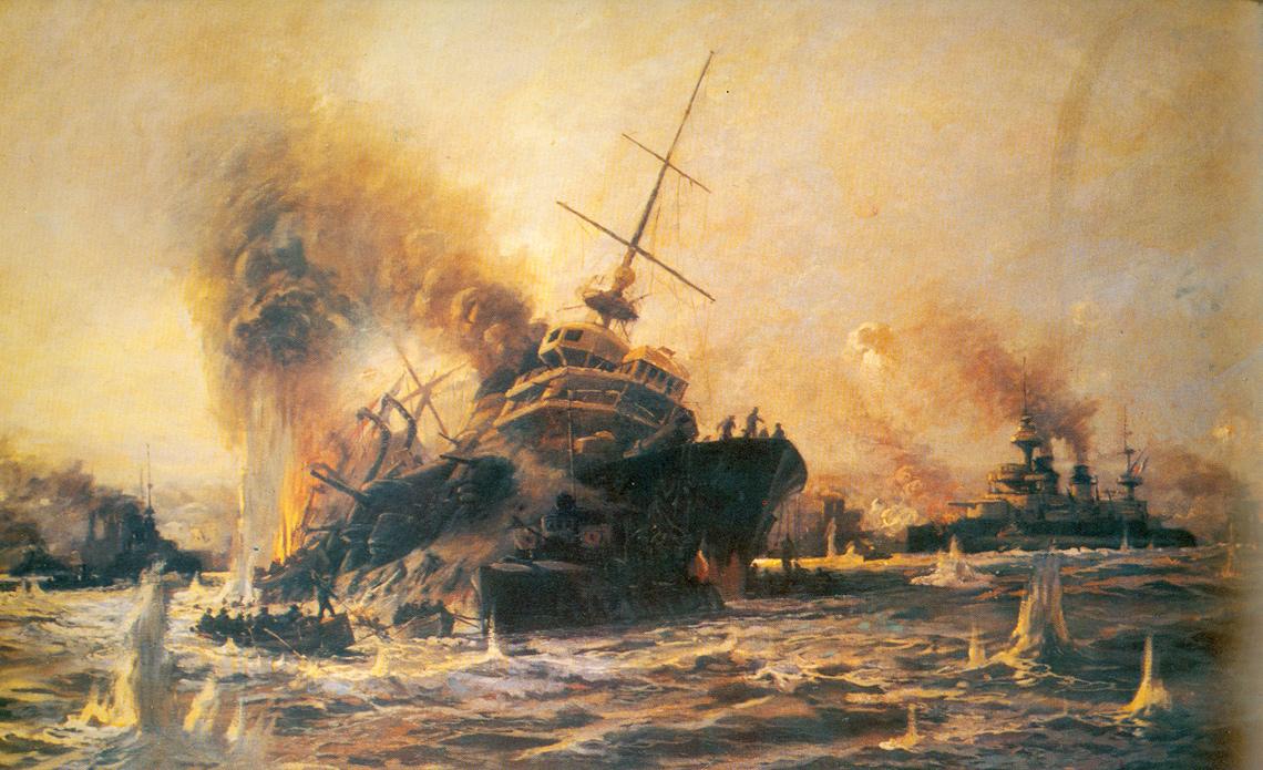 Pięciu braci z Francji. Tonący pancernik Bouvet na obrazie Diyarbakirilia Tahsin Beya. W tle pancernik Gaulois.