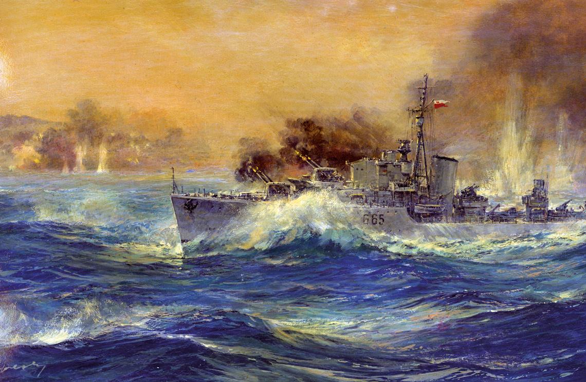 Niszczyciel ORP Piorun w akcji bojowej.