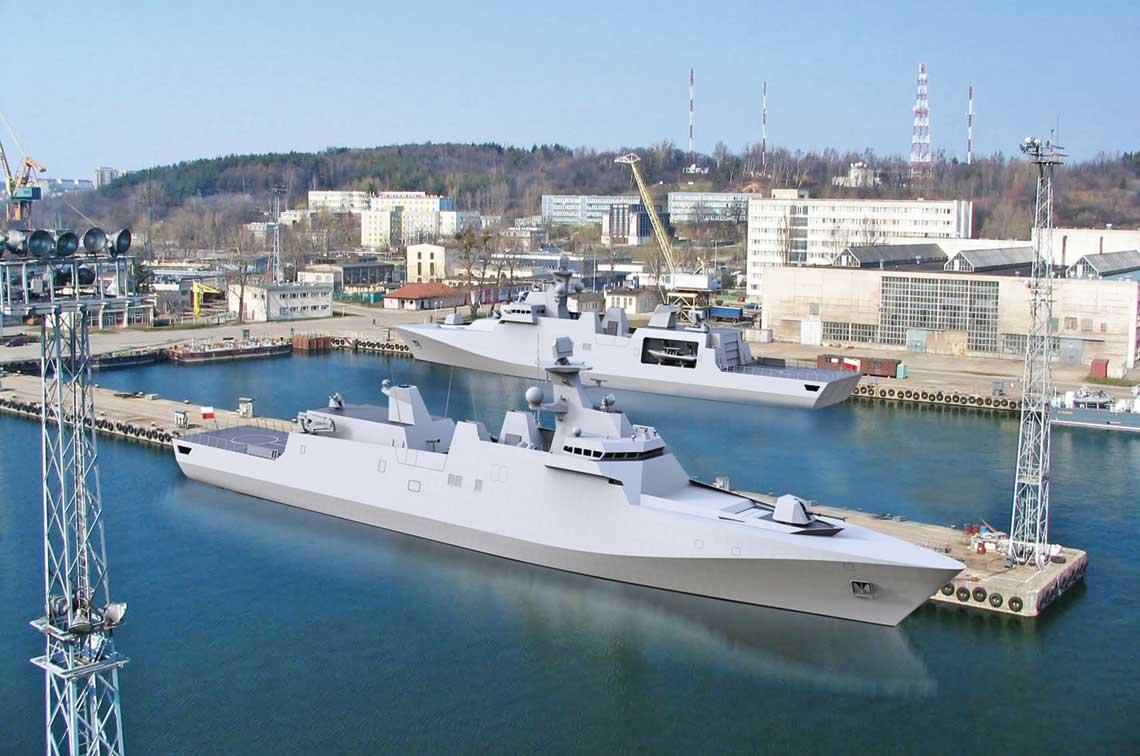 Ciekawą nowością były wizje Miecznika i Czapli zaprezentowane przez Damena. Tu wizja ich budowy w Stoczni Marynarki Wojennej.