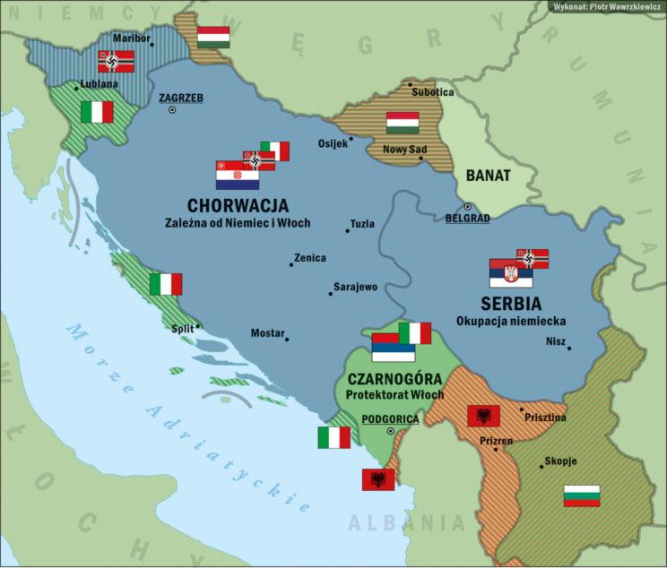 Podział terytorium Jugosławii po niemieckim podboju w 1941 r. Rys. Piotr Wawrzkiewicz
