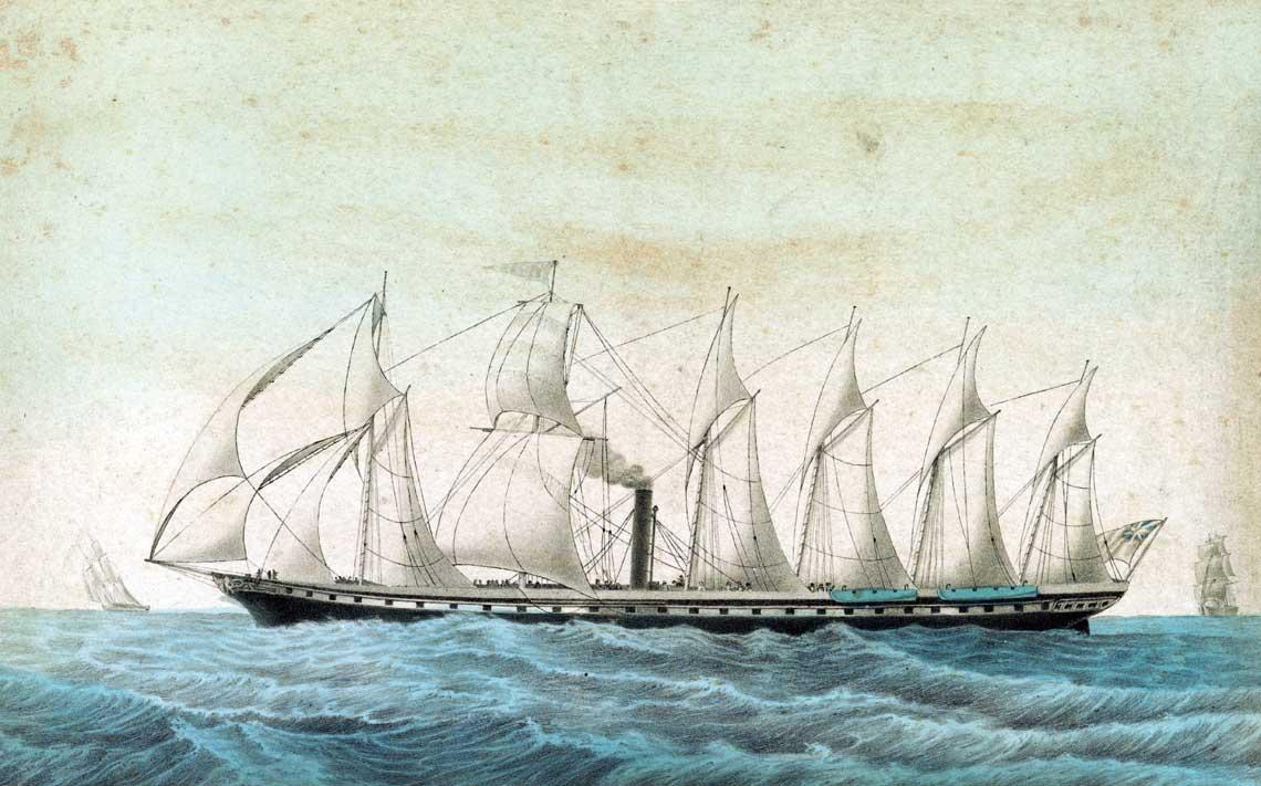 Obraz z epoki przedstawiający pierwszy statek oceaniczny z żelazny kadłubem. Fot. Library of Congress