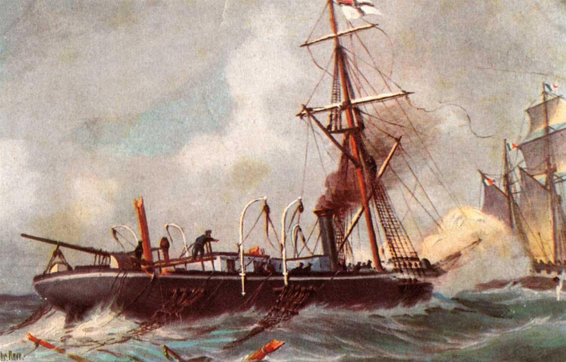 Pojedynek Bouveta  i Meteora. Ostatnia faza bitwy – uszkodzony Bouvet opuszcza akwen bitwy pod żaglami, ścigany przez kanonierkę Meteor.