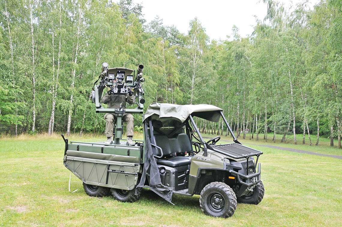 Prototyp Mobilnego Systemu Rakietowego Kusza na lekkim pojeździe terenowym Polaris Defence Ranger 800 6×6 w położeniu bojowym.