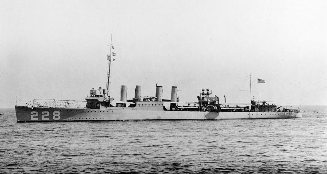 John D. Ford (DD228), okręt flagowy dowódcy 59. Dywizjonu Niszczycieli, na zdjęciu z 1921 r. Fot. NHHC