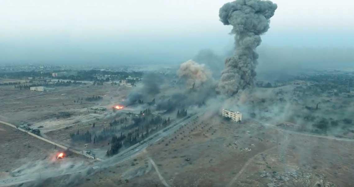 Syryjskie Aleppo, sierpień 2016 r. Kadr z kwadrokoptera islamistów, na którym widać skutki ostrzału rządowej artylerii irosyjskich bombardowań lotniczych. Fot. Internet