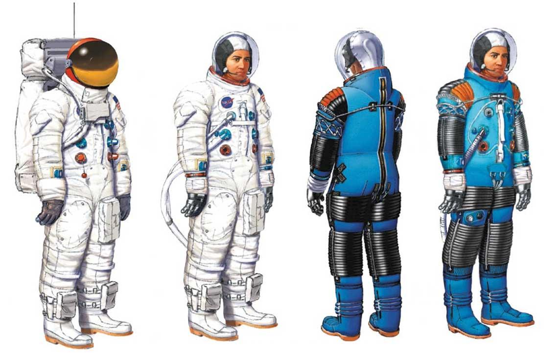 Skafander A7L wwersji dla astronautów LM iCSM oraz jego widok bez osłony zewnętrznej.