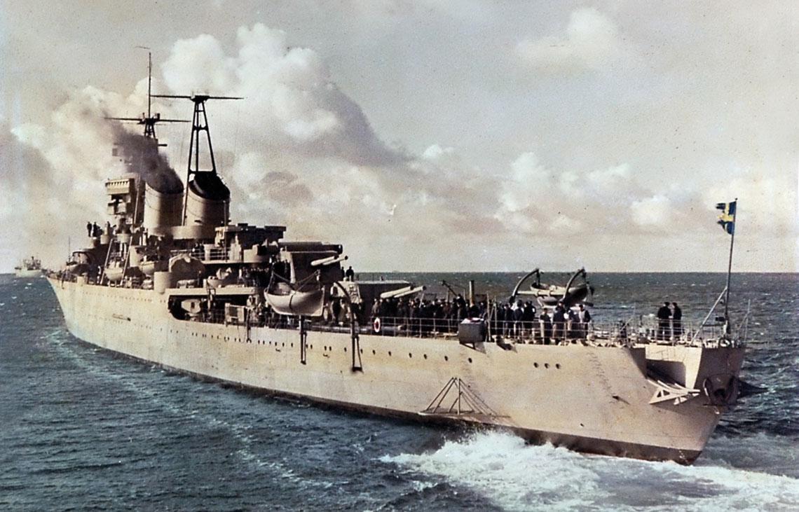 Ostatni szwedzki krążownik – Göta Lejon w 1948 r. – krótko po wejściu do służby. Fot. Marinmuseum