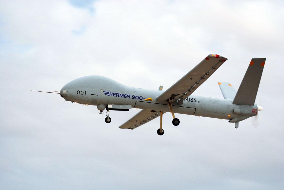 W czasie Szczytu NATO i Światowych Dni Młodzieży w lipcu br. nadzór sprawowały BSP Elbitu, w tym należący do kategorii MALE Hermes 900.