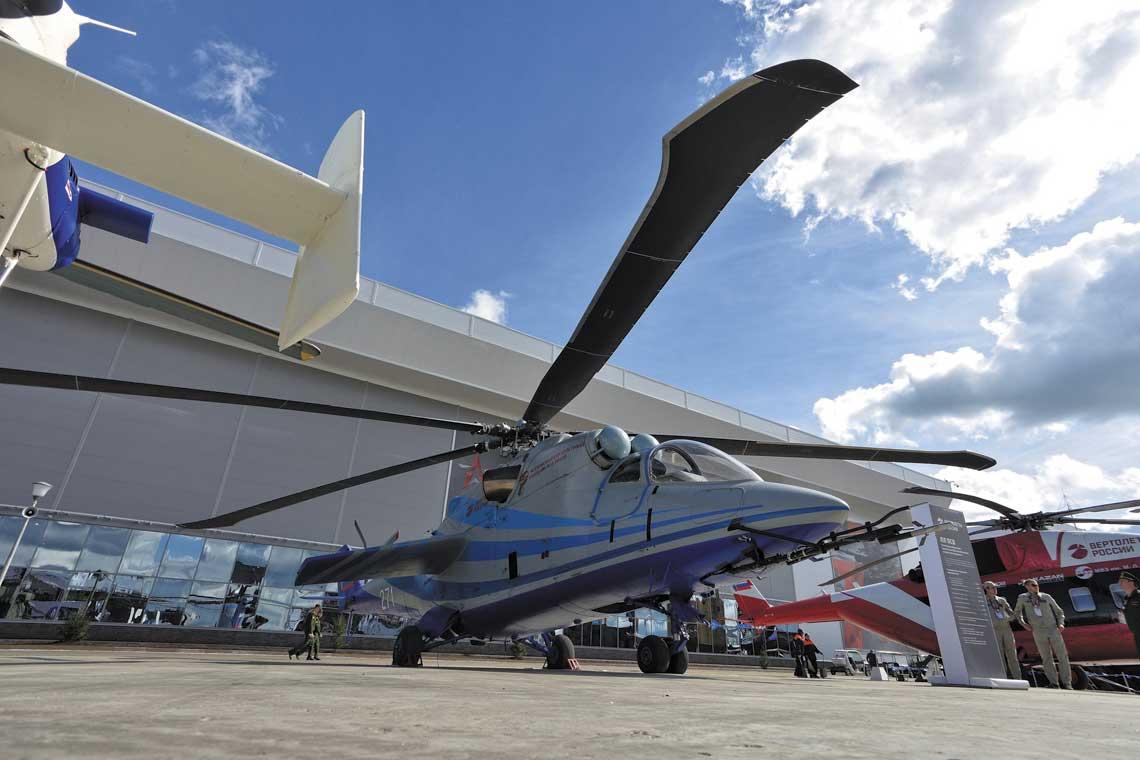 Mi-24 przeznaczony do prób nowych łopat wirnika głównego w locie z prędkością 360 km/h i więcej.