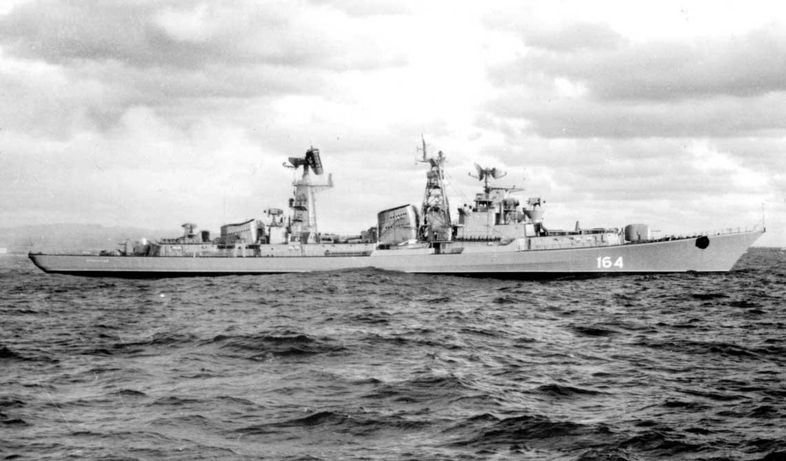 Prowornyj, okręt doświadczalny projektu 61E, próby morskie po przebudowie, 1976r. Fot. zbiory Autora