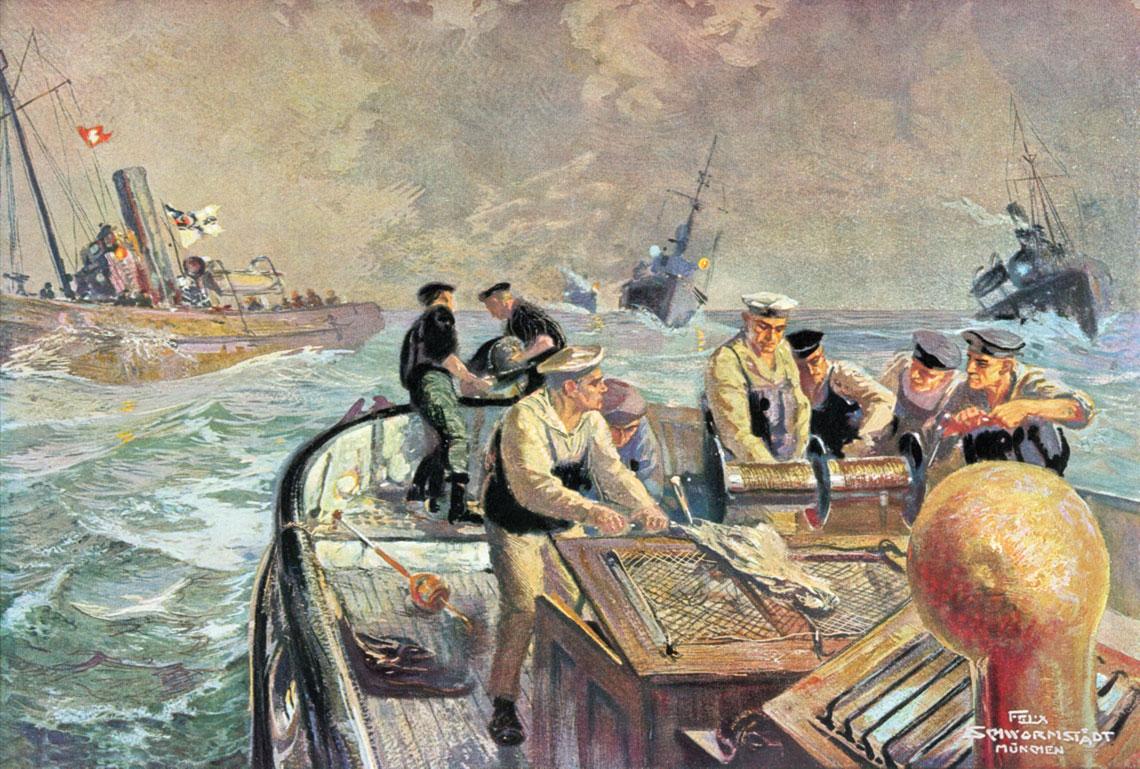 Niemieckie kutry trałowe w akcji na obrazie Feliksa Schwormstädta. Fot. zbiory Andrzeja Danilewicza