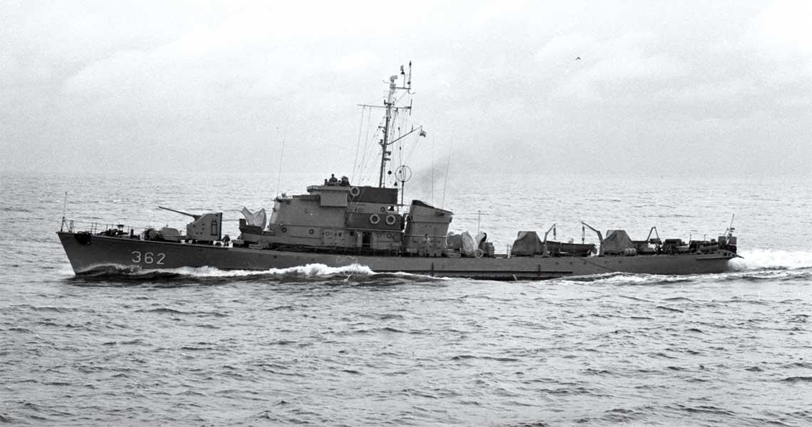 ORP Nieugięty, zdjęcie wykonane w 1968 r. Fot. zbiory Muzeum MW