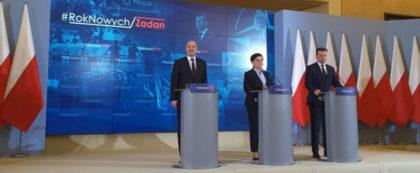Minister Macierewicz z Premier Szydło przemawiają na konferencji dotyczącej zadań w 2017 roku