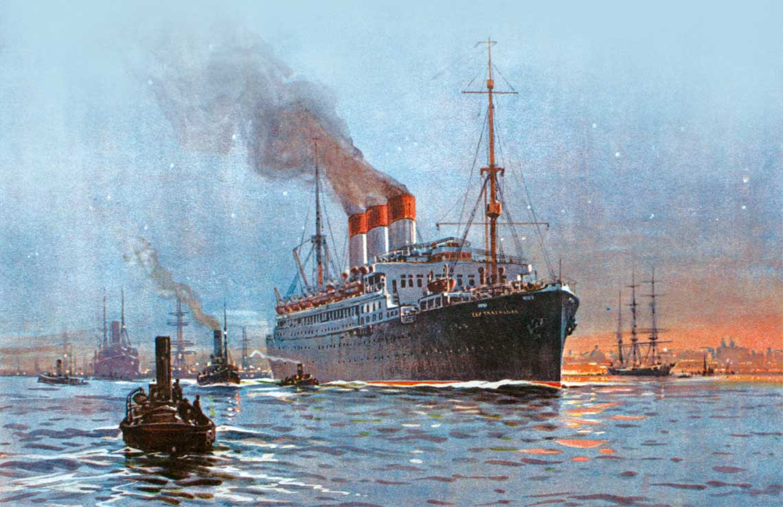 Cap Trafalgar opuszcza Montevideo 22 sierpnia 1914 r.