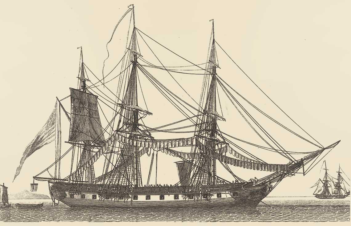 Amerykańska fregata z grupy jednostek lżejszych, jak Essex.