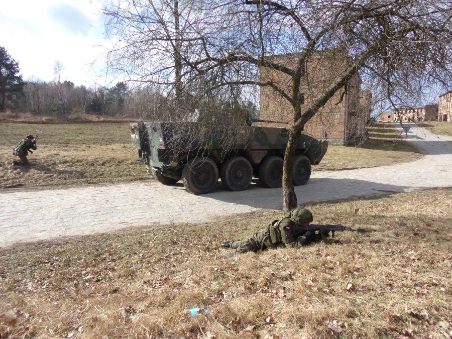 Pierwsza część pokazu obejmowała desant, rozwinięcie, zabezpieczenie terenu oraz zwinięcie drużyny piechoty z KTO Rosomak z 17 WBZ.