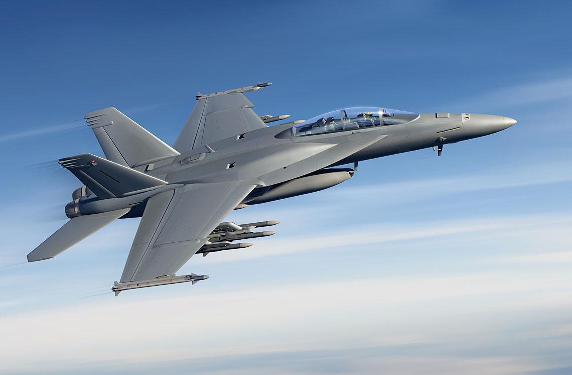 Wizja F/A-18F (XT) Block III. Nowy Super Hornet to typowy myśliwiec generacji 4,5, ale wiele elementów jego wyposażenia odpowiadać ma maszynom 5. generacji.