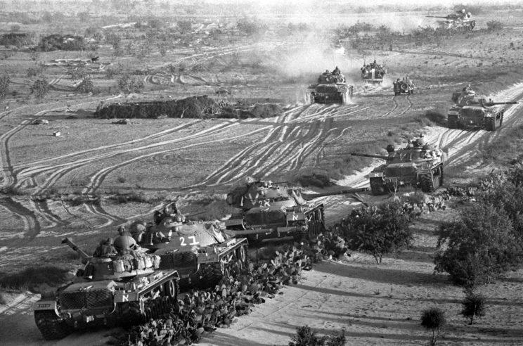 Wojska pancerne Izraela skierowały do walki 1294 czołgi, w tym: 250 M48 Patton (na zdjęciu), 338 Centurion (przezbrojone w armatę 105 mm), 522 Sherman (Super Sherman, ISherman) i 184 AMX-13.
