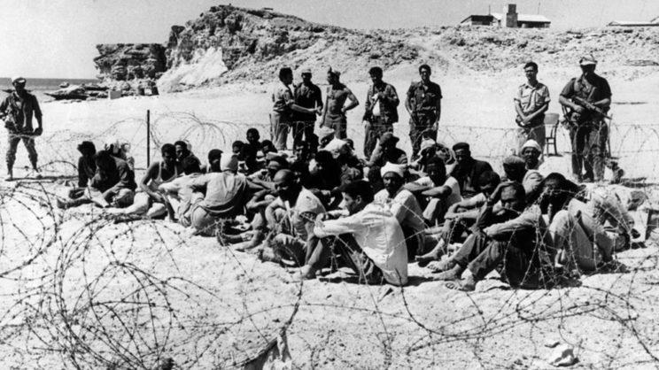 Wojna Sześciodniowa 1967. Zajęte zostały również Wzgórza Golan, dzięki czemu Izraelczycy opanowali najdogodniejszą przeszkodę terenową oddzielającą ich państwo od terytorium przeciwnika (Syrii).