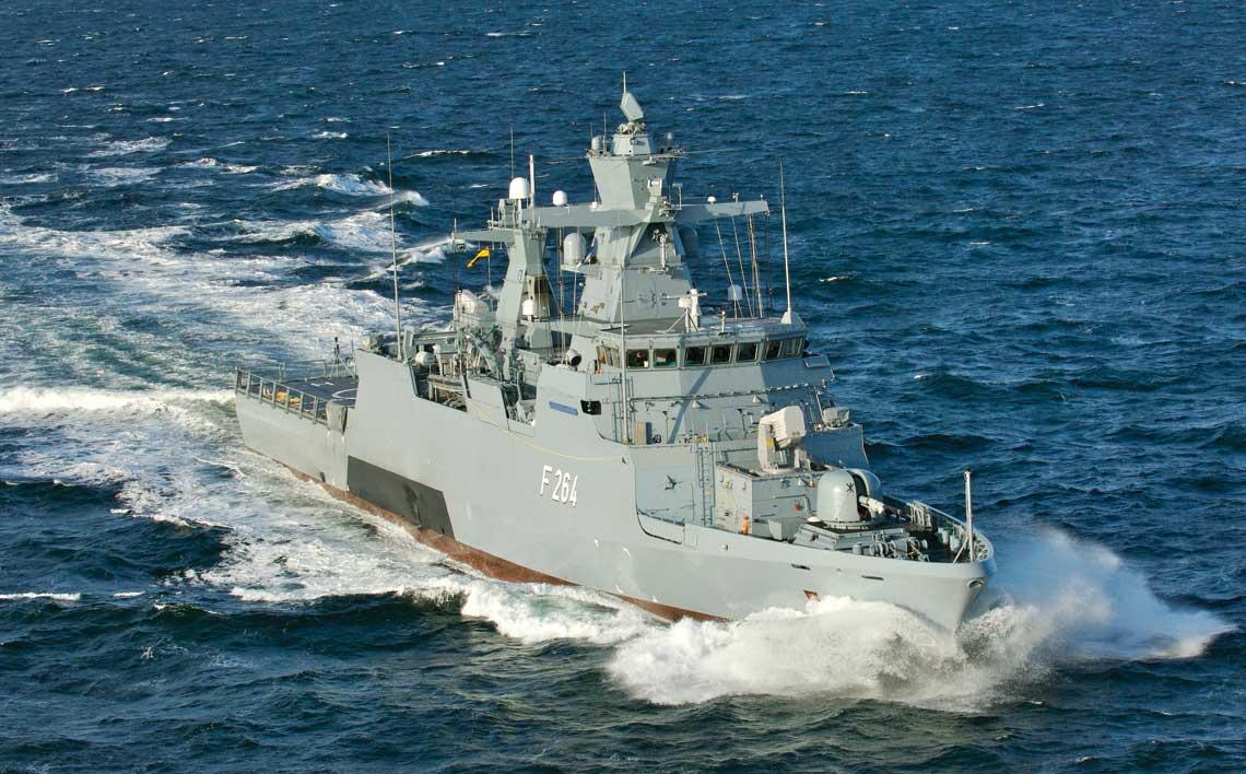 Ostatnia korweta typu K130 pierwszej serii  – Ludwigshafen am Rhein, na próbach morskich.  Fot. Lürssen