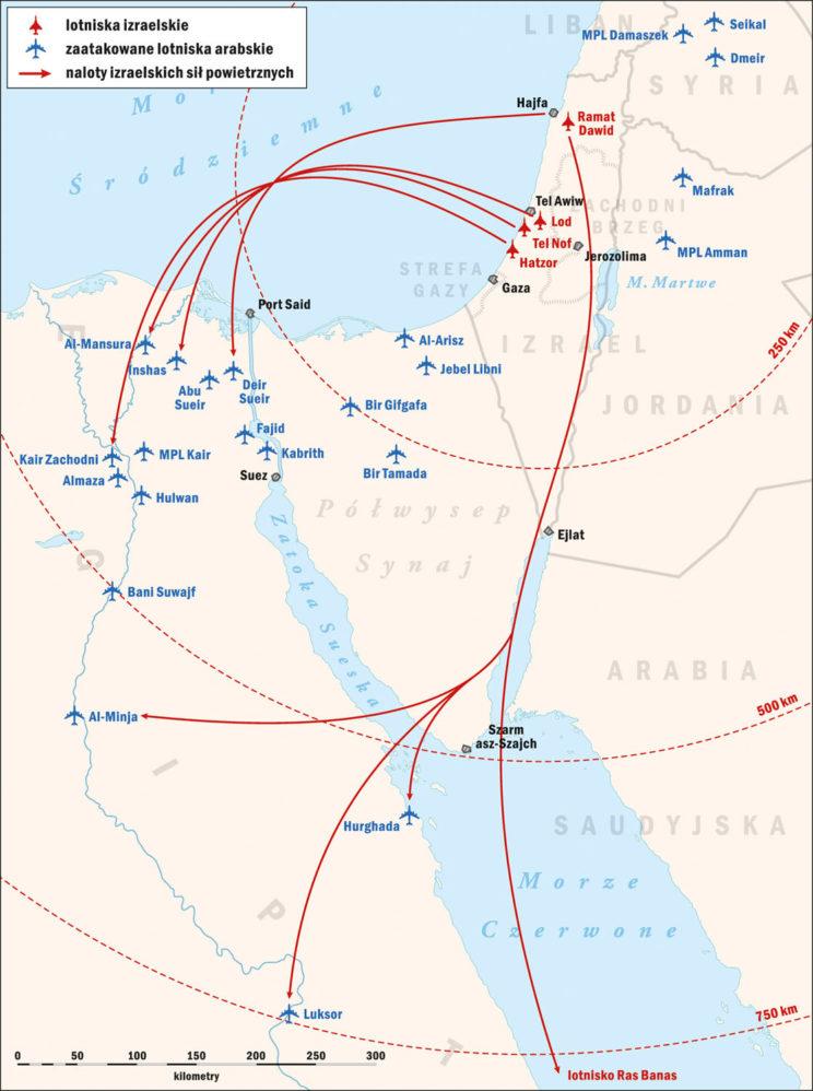 """Wojna Sześciodniowa 1967. Operacja izraelskiego lotnictwa """"Moked"""", 5 czerwca 1967 r. Rys. Piotr Wawrzkiewicz"""