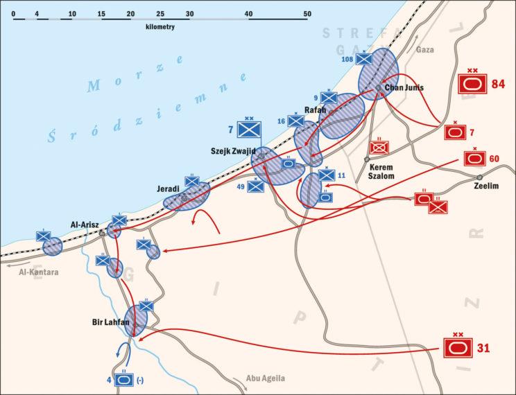 Wojna Sześciodniowa 1967. Izraelski atak na wybrzeże, bitwa o Al-Arisz. Rys. Piotr Wawrzkiewicz