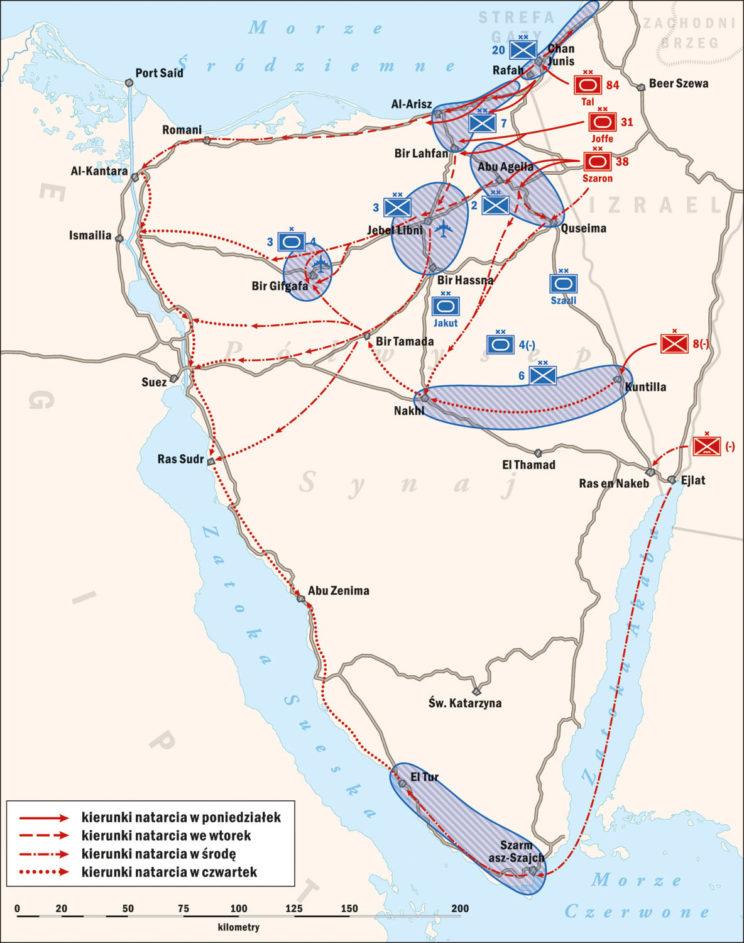 Wojna Sześciodniowa 1967. Walki izraelsko-egipskie na Półwyspie Synaj. Rys. Piotr Wawrzkiewicz