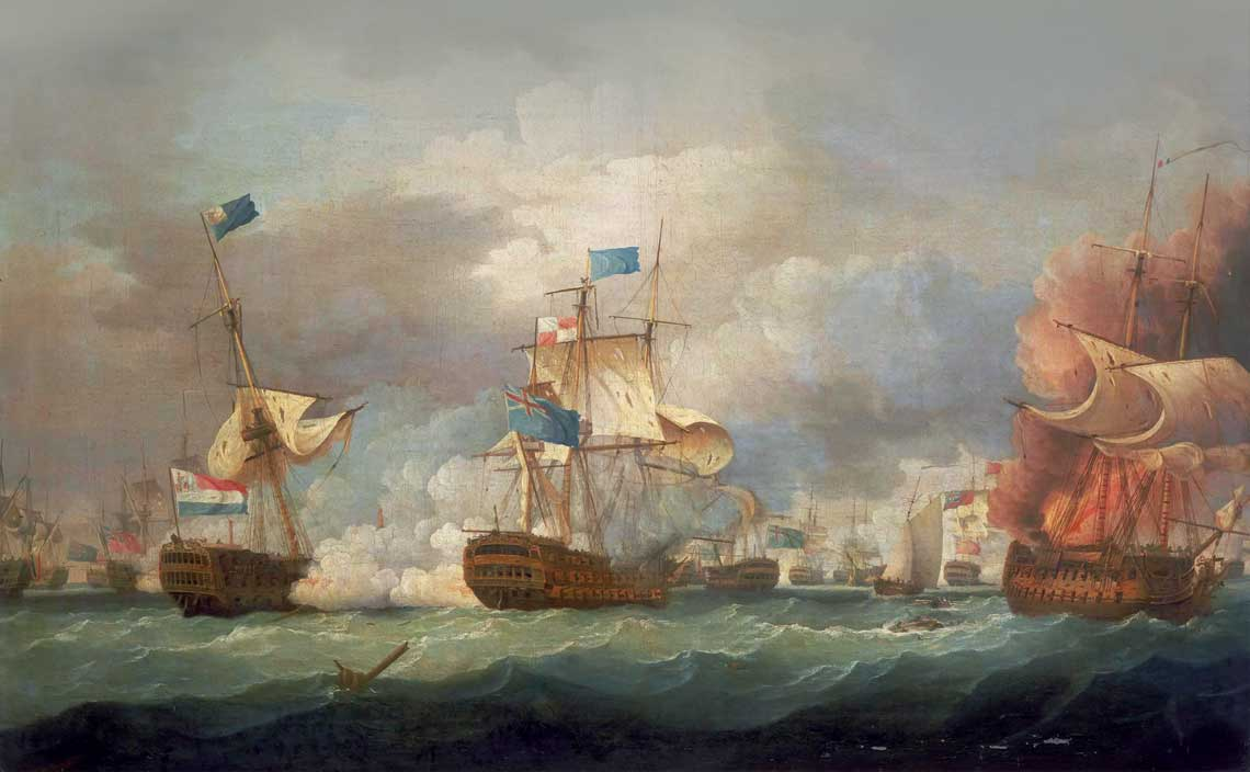 Obraz Thomasa Whitecombe`a przedstawiający bitwę pod Kamperduin, czyli Camperdown jak określają to miejsce Brytyjczycy, 11 października 1797 r. Fot. zbiory National Maritime Museum w Greenwich