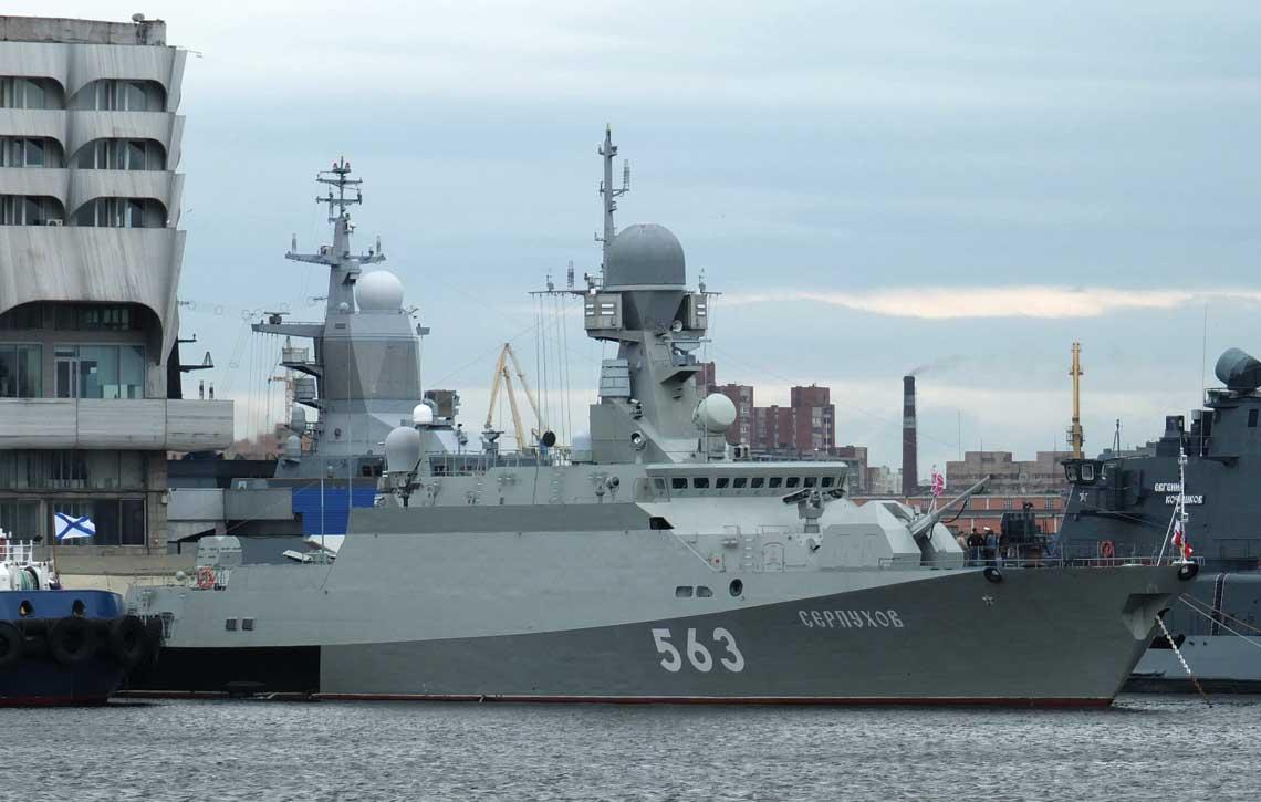 Bujany-M . Sierpuchow podczas targów IMDS 2017 w Petersburgu prezentowany był z nowym numerem burtowym nadanym w związku z włączeniem go do Floty Bałtyckiej.