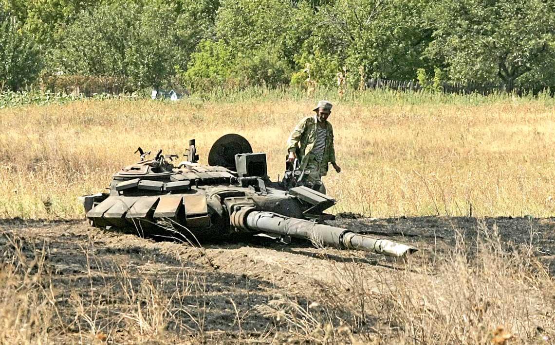 Wieża czołgu T-72B3 zniszczonego w rejonie wsi Czerwonosilskie.