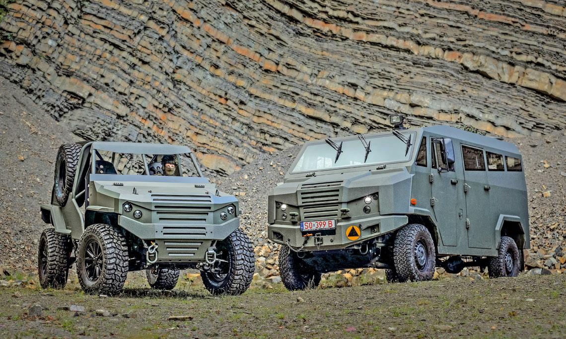 Bielska spółka Concept ma w tej chwili ciekawą ofertę pojazdów wysokiej mobilności o DMC do 3,5 tony, wśród których są m.in. Wirus (po lewej) i LTMPV DINO.