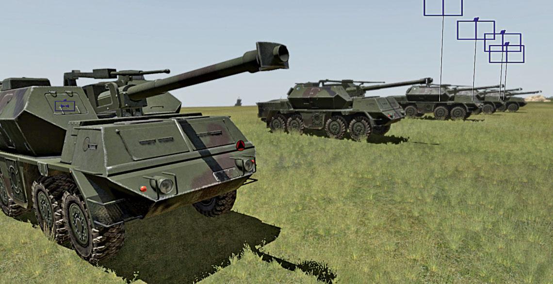 Rozwinięta na wirtualnym poligonie bateria 152 mm haubicoarmat DANA. Połączenie kilku trenażerów pozwala na prowadzenie ognia do brygady artylerii włącznie, niezależnie od jej charakteru, tj. artylerii lufowej czy rakietowej. Na wszystkich poziomach dowodzenia artylerią (tj. dywizjon/brygada), szkoleni stosują mapy dostosowane do działania w ramach całego systemu trenażera.