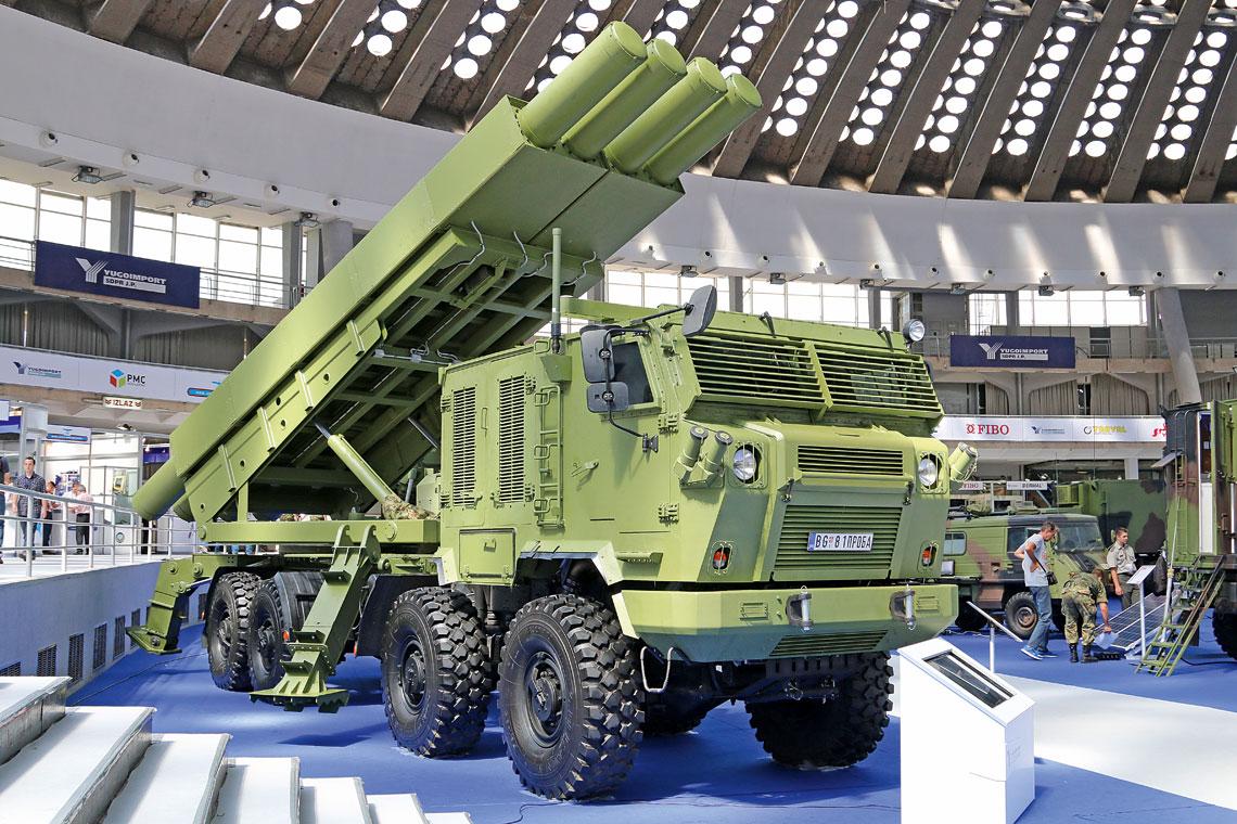 Šumadija – serbski Homar.. Samobieżna wyrzutnia wieloprowadnicowego polowego systemu rakietowego Šumadija z założonymi na lawecie dwoma modułami z pociskami z korygowaną trajektorią lotu Jerina-1 kal. 400 mm gotowymi do odpalenia. Nośnikiem wyrzutni jest czteroosiowe (8×8) podwozie Kamaz-6560 ze specjalnie skonstruowaną opancerzoną kabiną.