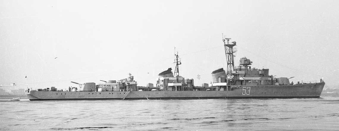 ORP Grom w pierwszym roku służby, jeszcze z numerem burtowym '53'. Fot. Janusz Uklejewski, zbiory Muzeum MW