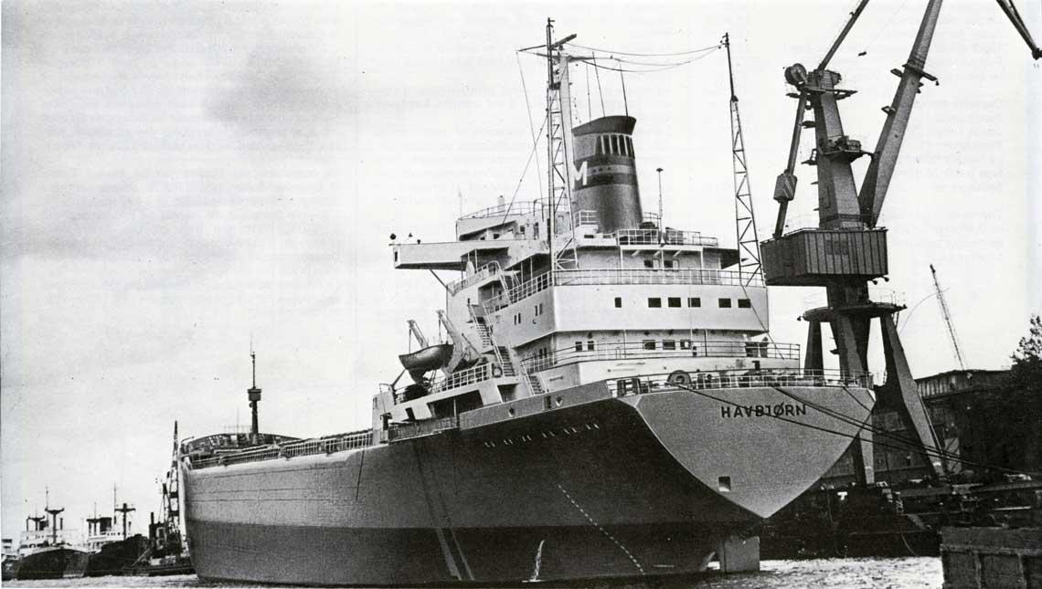 """Havbjørn, trudny w budowie statek, który pozwolił """"Komunie"""" wejść na rynek skandynawski."""