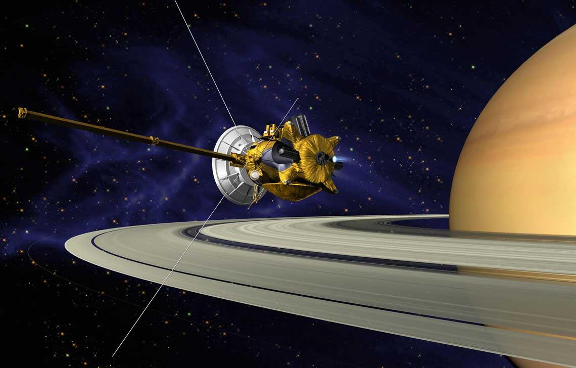 Wejscie sondy Cassini na orbite Saturna.