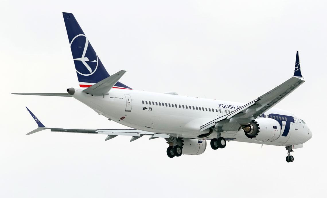 Ubieglorocznym wydarzeniem w rejestrze byl wpis pierwszych dwoch samolotow komunikacyjnych Boeing 737 MAX 8, rej. SP-LVA (na zdjeciu) i SP-LVB. Fot. Sebastian Fusnik