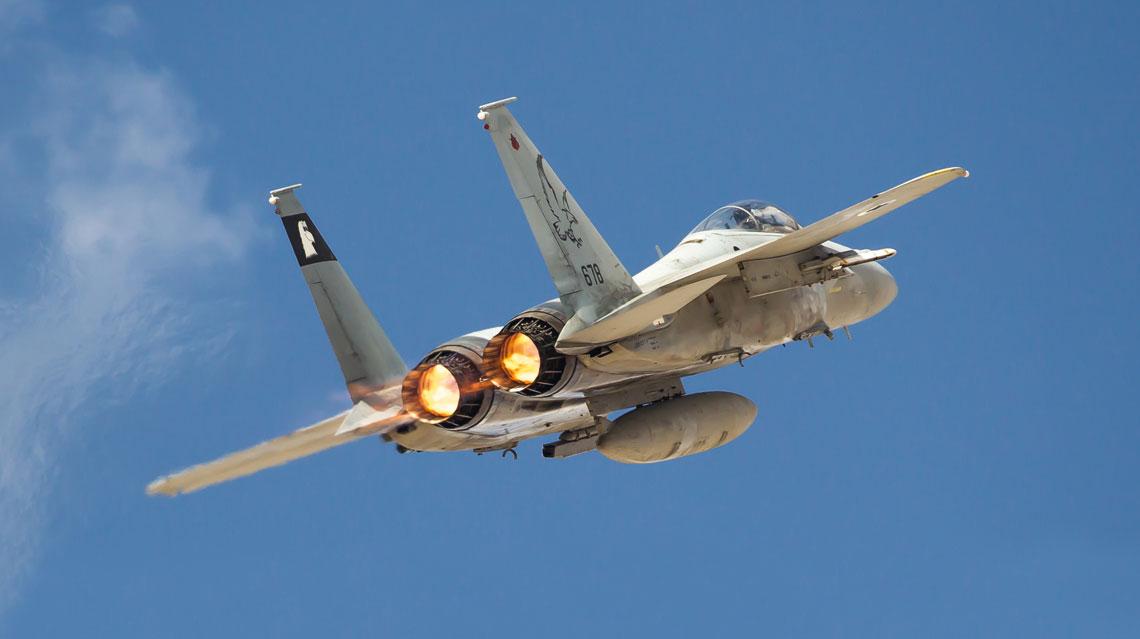 """W cwiczeniu """"Blue Flag"""" bralo m.in. udzial 10 samolotow mysliwskich F-15 Baz ze 133. Dywizjonu Sil Powietrznych Izraela z bazy Tel Nof."""