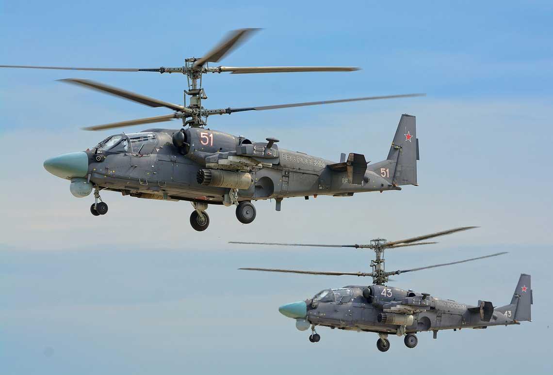 Sily Powietrzne Rosji maja 110 smiglowcow bojowych Ka-52 i ich dostawy trwaja w tempie okolo 15 rocznie. W 2020r. do produkcji wejdzie zmodernizowana wersja Ka-52M. Wszystkie fot. Piotr Butowski