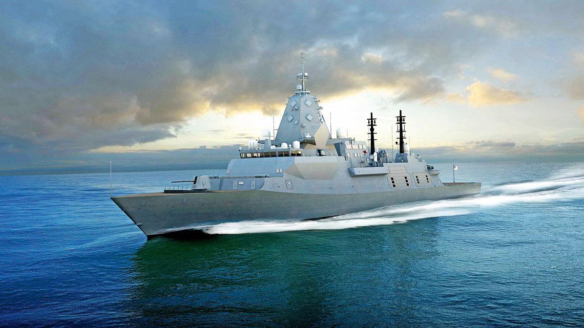 Wizja artystyczna przedstawiajaca spodziewany wyglad fregaty typu Hunter. Najogolniej odpowiada on okretom typu City powstajacym dla Royal Navy, zas zasadnicza róznica jest maszt zantenami systemu radiolokacyjnego CEAFAR2.