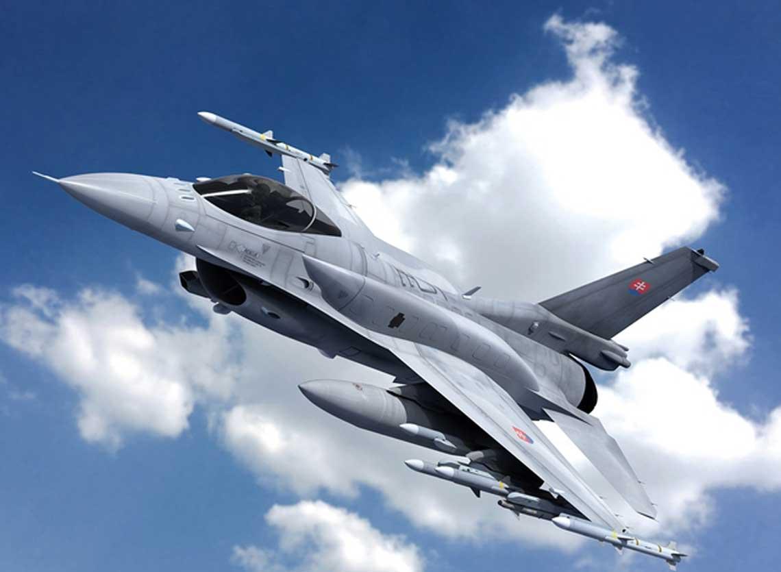 Wizja artystyczna wielozadaniowego samolotu mysliwskiego F-16 Block 70/72 w barwach Sił Powietrznych Sil Zbrojnych Republiki Slowackiej. Kraj ten w lipcu zdecydowal sie na zakup czternastu mysliwcow tego typu. Fot. Lockheed Martin