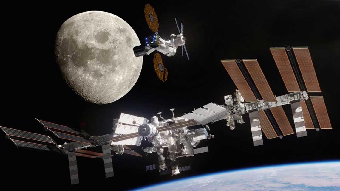 Mini Międzynarodowa Stacja Kosmiczna na orbicie Ksiezyca