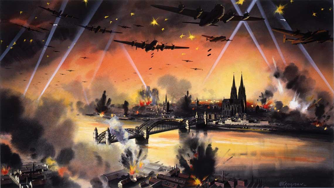 """Obraz autorstwa W. Krogmana przedstawiajacy artystyczna wizje nalotu 1000 bombowcow na Kolonie. Ten smialy i nowatorski atak zakonczyl sie ogromnym sukcesem – wielkosc """"magicznej"""" liczby 1000 oraz osiagniete rezultaty musialy dzialac na wyobraznie."""